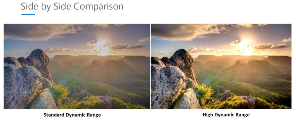 Side by Side Comparison of Standard Range and HDR Range