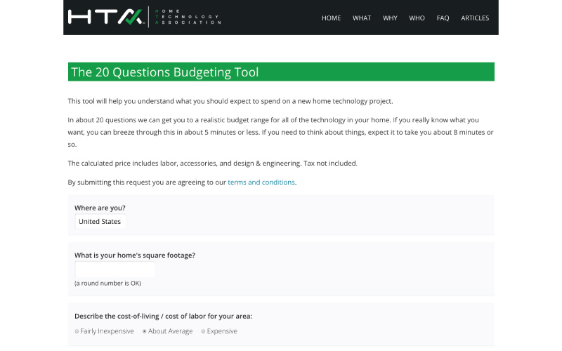 Architects, Builders, Interior Designers & Construction Estimators Applaud HTA's Technology Budget Calculator